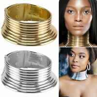 Vintage African Jewelry Necklace Metallic Coil Adjustable Choker Maxi Collar Hot