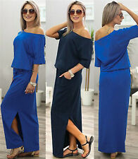 Women One Shoulder Casual Loose Dress Maxi Split Long Beach Long Summer Sundress