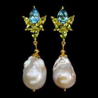 Pear Swiss Blue Topaz 9x6mm Peridot Baroque Pearl 925 Sterling Silver Earrings