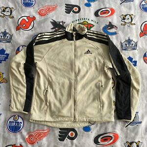 Adidas Coat Jacket Men's Large Beige Track VTG 90s Warm-Up Full Zip Fleece Lined