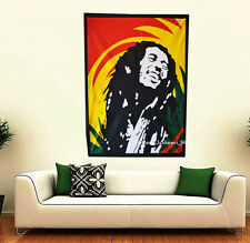"""Smiling Bob Marley Cotton Wall 30""""X40"""" Hanging Tapestry Traditional Poster Art"""