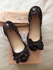 Miu Miu Bordeaux Patent Leather Ballet Flats Red Bow Shoe BNIB UK 4 37 £289