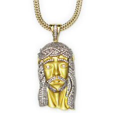 18k Matte Gold Plated CZ XL Jesus Piece 2.5 Inches long + 30 inch Franco Chain