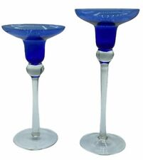 """TIERED 8"""" & 7"""" CLEAR & COBALT BLUE GLASS STEM CANDLE HOLDER HAND BLOWN"""