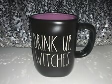 "New Rae Dunn Halloween 🎃 ""DRINK UP, WITCHES"" 🎃BLACK MUG w/PURPLE Inside"