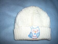 BOYS CREAM KNITTED OWL HAT BEANIE STYLE  AGE 4 - 6 YEARS