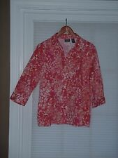 CHICO'S Coral Fushia Print Button Down Shirt Cotton/Spandex Size 2(12-14) NEW
