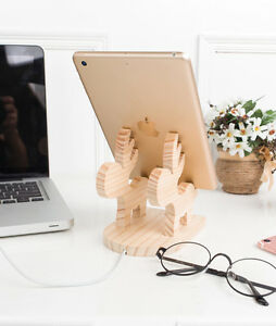 Mobile Phone iPad iPhone Desk Wood Stand Holder Folding Portable Xmas Gifts