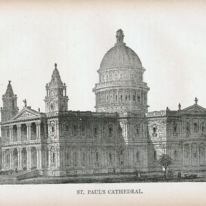 St. Pauls Cathedral London - The Mother Church - Anglican - 1886 engraving