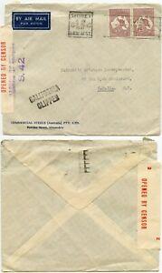 AUSTRALIA 1941 CENSORED KANGAROOS 4s to FAIRCHILD AVIATION NY CALIFORNIA CLIPPER