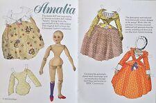 Amalia Antique Wooden Doll Mag. Paper Doll, Mona Borger Artist, 2004
