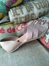 Urban Outfitters BDG Strappy Peep-toe Leather D'orsay Slip-on Flats Tan Size 9