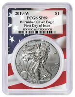 2019 W Burnished Silver Eagle PCGS SP69 - First Day Issue - Flag Frame