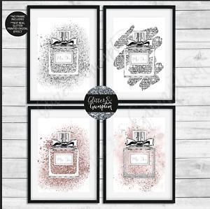 Fashion Art Silver Faux Glitter Perfume Bottle blush pink paint splash print