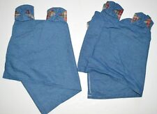 Set of 2 Denim and Plaid Window Valance Tab Top Blue Jean Cotton Blend 18x59 JCP