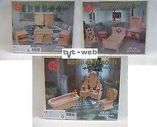 3 Set Puzzle in legno 3d, Puzzle, WOOD CRAFT MODEL, bambole mobili!!! NUOVO!!!
