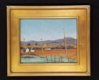 Country Fields and Mountains Original Oil Painting Gold Frame Landscape Painting