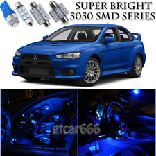For Mitsubishi Lancer 2008-2015 Blue LED Interior Kit + White LED License Light