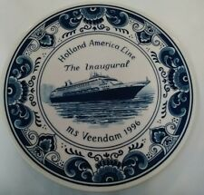 "Holland America Line Blue Delft 9 1/2"" Collector Plate Ms Veendam 1996"