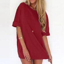 ZANZEA Summer Women's T-Shirt Casual Solid Plus Size Party Long Shirt Dress US