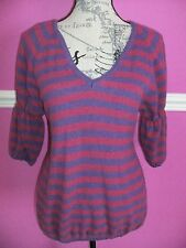 SISLEY @ BENETTON STRIPED V NECK 80% WOOL JUMPER SWEATER M 12 14 16  EXCEL COND.