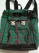 Dover Kidz Tartan Plaid Backpack Green Blue Book Bag Pleather Bottom