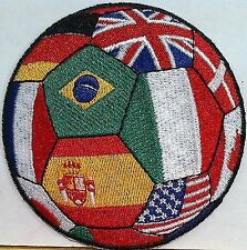 World Soccer Ball Brazil USA Germany Italy Spain and More Iron on Patch