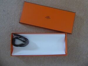 HERMÈS Orange Tie/Pocket Square Rectangular Box (Empty) With Tissue and Ribbon
