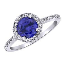 Tanzanite & Sapphire Cluster Ring 14k White Gold Over 925 Sterling Silver