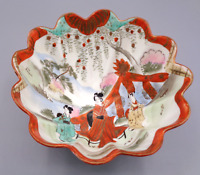 "7"" Vintage Scalloped Footed Red Bowl Geisha Japan Hand Painted Red Trim"
