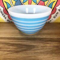Pyrex Blue Stripe 401 Mixing Bowl Mid Century Modern Glass White Dish Vintage