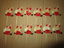 Vintage Christmas Plastic Santa Cake Cupcake Picks Toppers Lot Of 12 Hong Kong