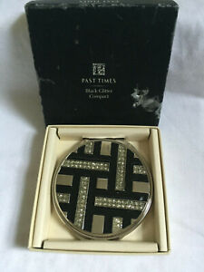 VINTAGE Past Times Black Glitter Rhinestone Beaded Compact Mirror NEW BOXED