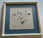 """Framed And MattEd Wildflowers Paper Heart 11"""" X 11"""" Handmade paper real flowers"""