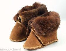 Mongolie, chaussons de bébé en fourrure, 18 mois, marrons