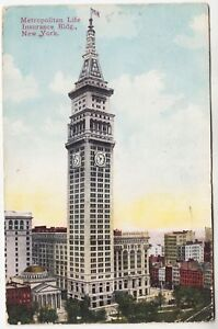 NEW YORK - Metropolitan Life Insurance Building - 1910 used postcard