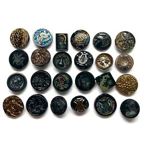 Antique Buttons ~ Lovely Collection Special Victorian Era Black Glass, Insect +