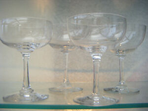 Champagne glasses victorian set 4 mixed similar style crystal