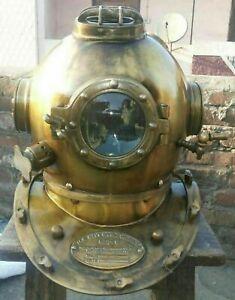 Antique Brass Morse Boston Diving Divers Helmet Navy Vintage Mark V Scuba Marine