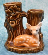 SylvaC Pottery Faun Deer TreeTrunk Double Vase No. 4290