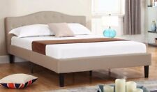 Deluxe Ivory Tufted Linen Fabric Platform Bed with Wooden Slats - Full Size