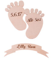 Wooden Personalised Baby Details Footprint and Banner Set Christening Memory Box