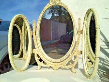 VINTAGE CREAM & GOLD TRIPLE DRESSING TABLE MIRROR LOUIS STYLE