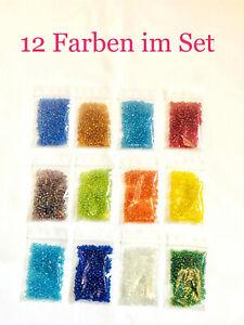 ANGEBOT! Perlen-Set 3mm 12 Farben à 5gr oder 10gr Rocailles Schmuck basteln DIY