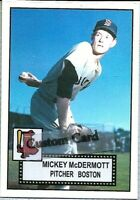 MICKEY McDERMOTT BOSTON RED SOX 1952 STYLE CUSTOM MADE BASEBALL CARD BLANK BACK