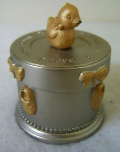 BABYS FIRST CURL Keepsake Box / Pewter Round Trinket Box by Russ Berrie