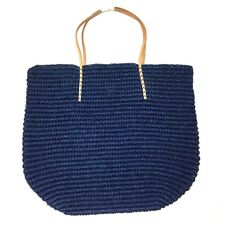 Merona Leather Straw Beach Tote Bag Purse Navy Blue Woven Paper Thread NWOT