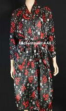 Black Ancient Chinese Calligraphy Silk Satin Kimono Robe w/ Waist Tie Handmade