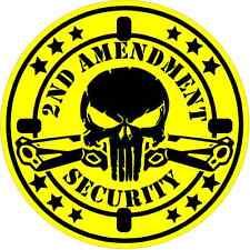 WARNING DECAL  2nd Amendment Security  VINYL WINDOW DECAL  / GUN  /  PISTOL