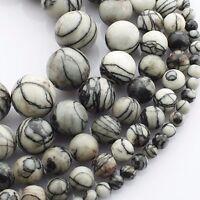 Imperial Jaspis Perlen Weiß Grau 6mm Kugel Strang Edelsteine Natursteine G26